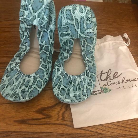 The Storehouse Flats Shoes - Storehouse Foldable Flats-Turquoise Snake